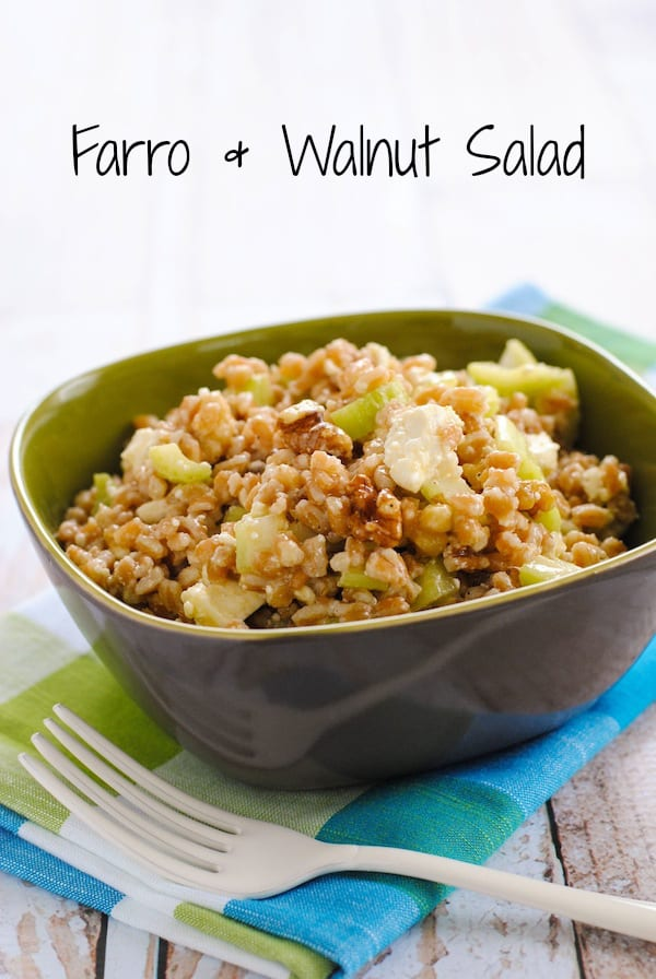 Farro & Walnut Salad - Perfect for summer parties and picnics! A healthful and tasty salad with farro, walnuts, celery, feta cheese and lemon dressing.   foxeslovelemons.com