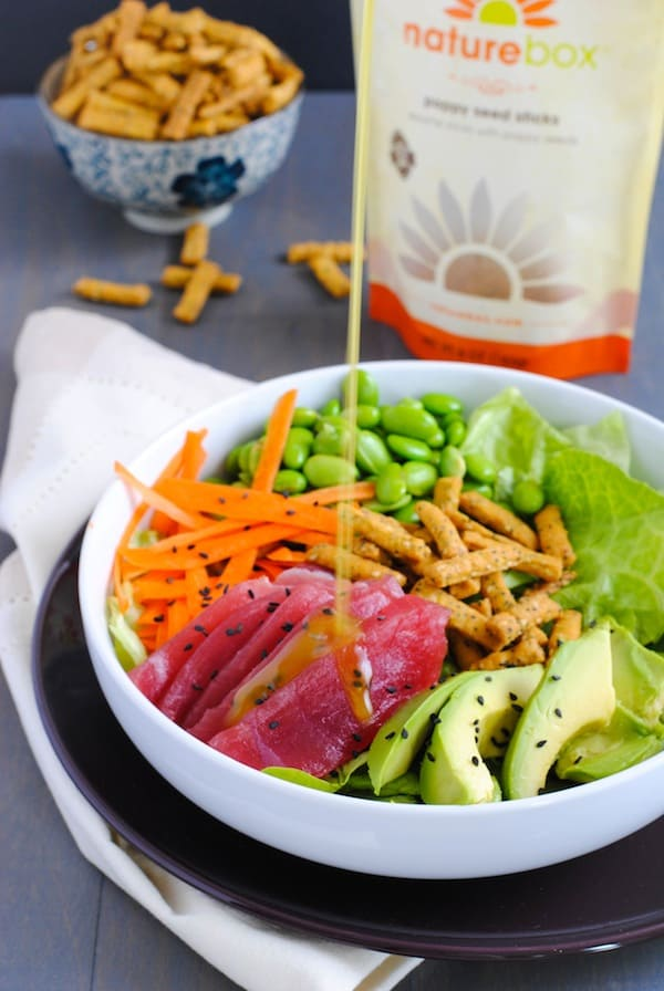Ahi Tuna Salad with Miso-Wasabi Dressing - A fresh and healthy sushi roll, in a bowl! | foxeslovelemons.com