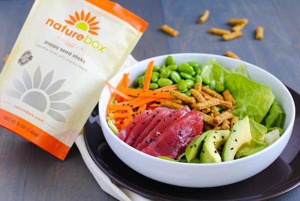 Ahi Tuna Salad with Miso-Wasabi Dressing - A fresh and healthy sushi roll, in a bowl!   foxeslovelemons.com