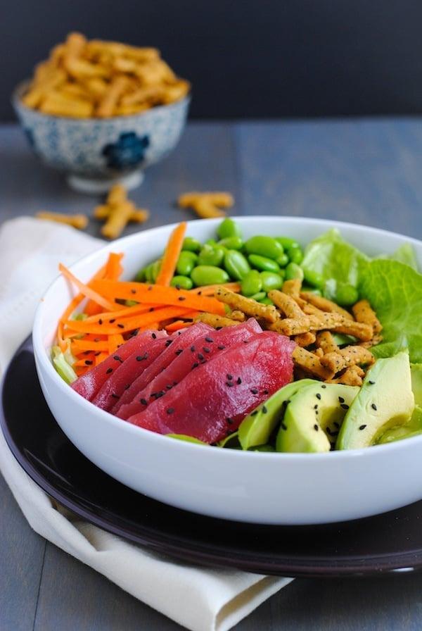 Ahi Tuna Salad with Miso-Wasabi Dressing