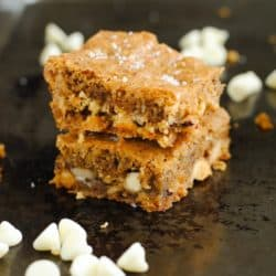 Hazelnut & White Chocolate Sea Salt Blondies - A decadent combination of sweet and salty! | foxeslovelemons.com