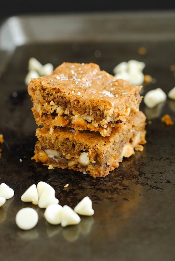 Hazelnut & White Chocolate Sea Salt Blondies