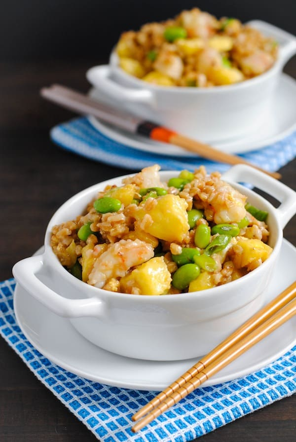 Shrimp Fried Farro - A healthier take on shrimp fried rice, made with farro, shrimp, pineapple and edamame. | foxeslovelemons.com
