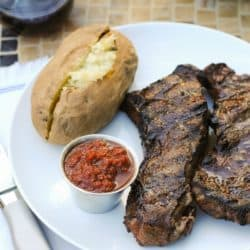 Strip Steaks with Cherry-Chipotle Sauce - A steakhouse-quality meal at home: grilled strip steaks with a sweet and spicy sauce for dipping. | foxeslovelemons.com