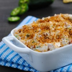 Lightened-Up Jalapeño Popper Dip - Perfect for tailgating and game-watching parties! All the flavors of a jalapeño popper, lightened-up in a dip made with Greek yogurt, turkey bacon, Cheddar cheese and a crunchy breadcrumb topping. | foxeslovelemons.com