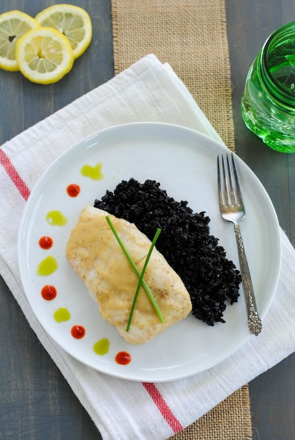 Miso-Glazed Halibut with Chive Oil & Black Rice | A beautiful, restaurant-quality meal that YOU can make at home! | foxeslovelemons.com