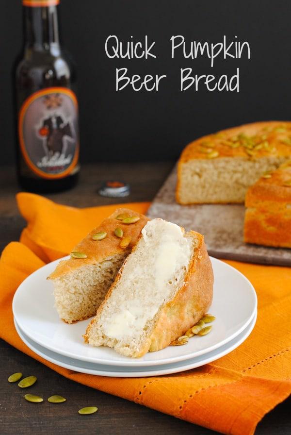 Quick Pumpkin Beer Bread - A simple homemade beer bread made with PUMPKIN beer! | foxeslovelemons.com