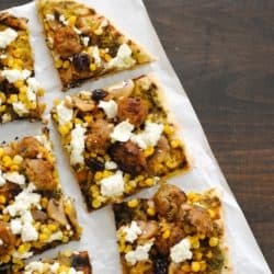 Sausage, Corn & Cherry Pizza with Goat Cheese - A unique pizza with a combination of savory and sweet flavors. | foxeslovelemons.com