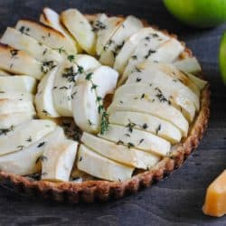 Savory Apple Tart with Gouda Crust - Perfect as a side dish, light lunch or sweet and savory dessert! | foxeslovelemons.com