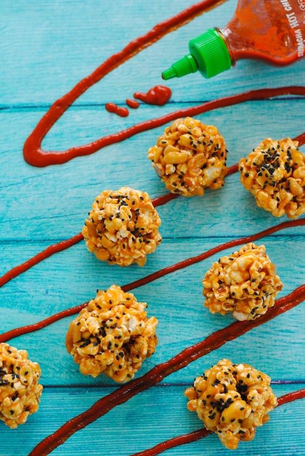 Peanut Butter-Sriracha Popcorn Balls