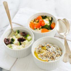 Savory Yogurt Three Ways - Not a fan of fruity yogurt? Turn plain Greek yogurt into a savory, protein-packed meal! | foxeslovelemons.com