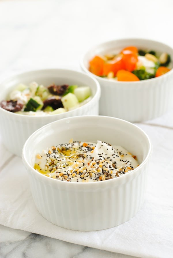 Savory Yogurt Three Ways - Not a fan of fruity yogurt? Turn plain Greek yogurt into a savory, protein-packed meal! | foxeslovelemons.com