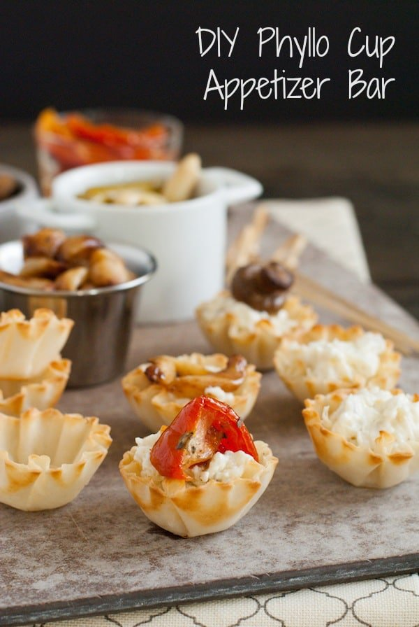 DIY Phyllo Cup Appetizer Bar - A fun spread of party bites that lets your grocery store do ALL the work! | foxeslovelemons.com