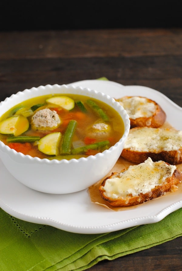 Turkey Meatball & Vegetable Soup with Cheesy Crostini