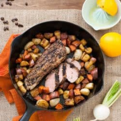 Coffee-Rubbed Pork Tenderloin with Orange Glazed Root Vegetables - A one-skillet meal for a chilly day! | foxeslovelemons.com