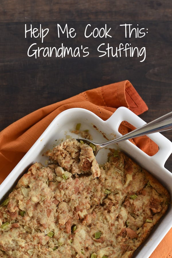 A recipe for Grandma's Stuffing, a classic Thanksgiving bread dressing made with giblets, milk, turkey stock, onions, celery and herbs. | foxeslovelemons.com