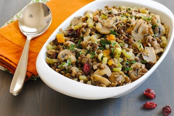 Lentil & Mushroom Dressing - A gluten-free stuffing/dressing that all your guests will enjoy! Includes two types of lentils, dried fruit and herbs. | foxeslovelemons.com