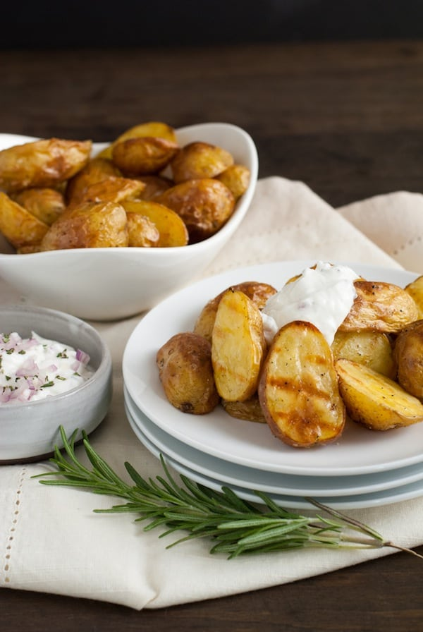 Super Crispy Roasted Potatoes with Shallot-Rosemary Yogurt