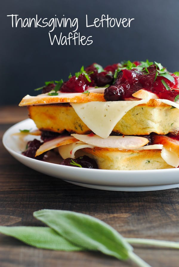 Thanksgiving Leftover Waffles - Savory buttermilk and herb waffles topped with Havarti cheese, and leftover turkey and cranberries!   foxeslovelemons.com