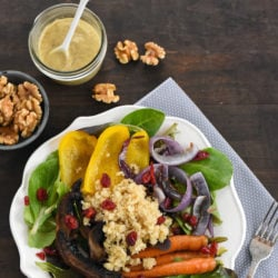 "Roasted Vegetable & Quinoa Salad with Creamy Walnut Dressing - A healthy and filling salad with a dairy-free but ""creamy"" walnut & lemon salad dressing! 