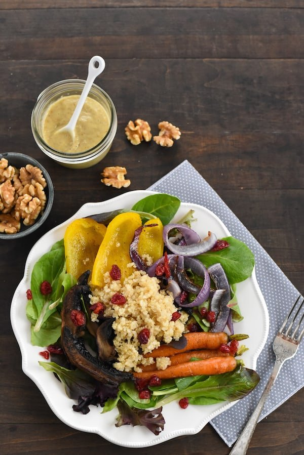 Roasted Vegetable & Quinoa Salad with Creamy Walnut Dressing