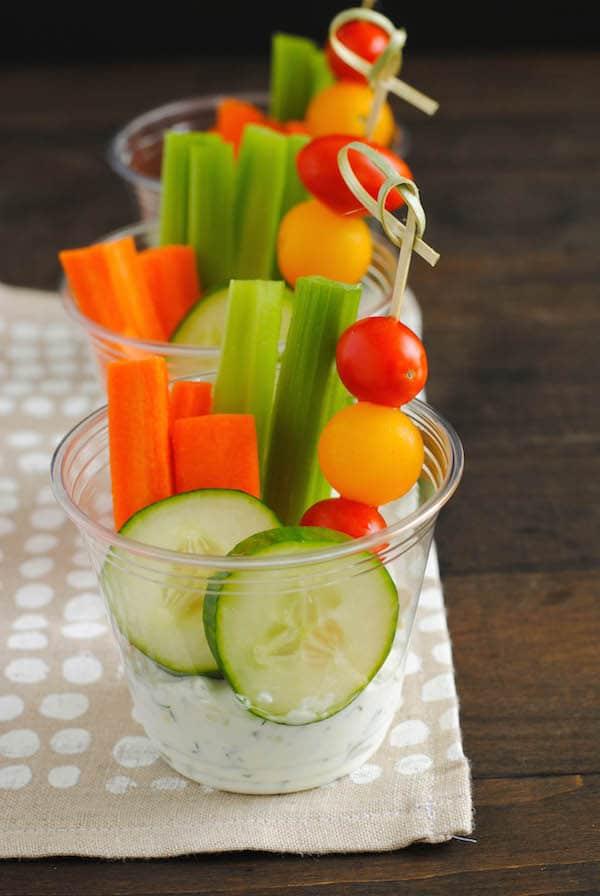 Veggies & Dip Cups | foxeslovelemons.com