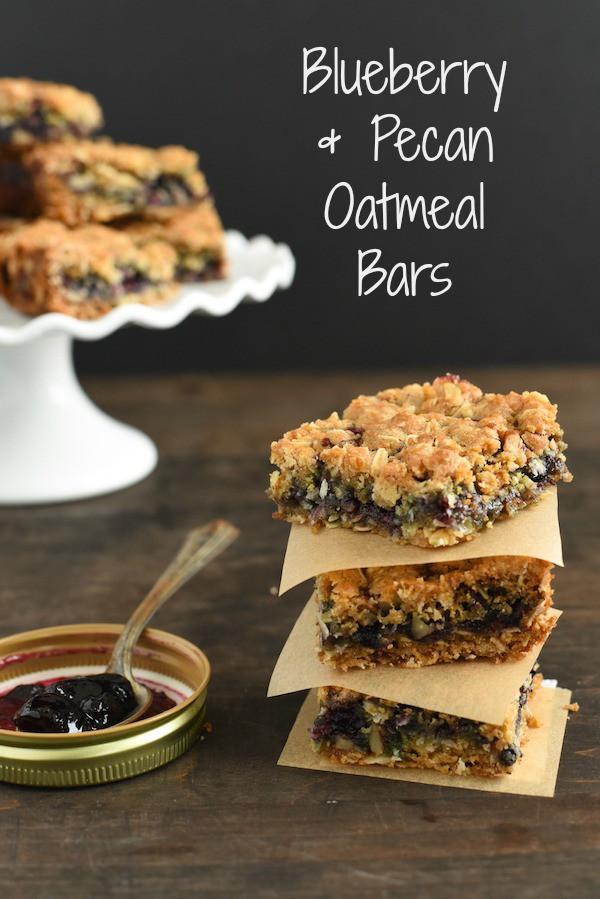 Blueberry-Pecan Oatmeal Bars - Oatmeal and pecan bars layered with blueberry jam. Perfect for breakfast, dessert or a bake sale! | foxeslovelemons.com