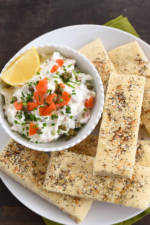 Everything Bagel Breadsticks & Smoked Salmon Dip