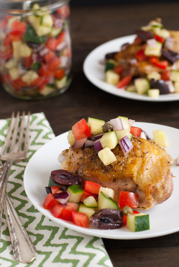 Roasted Chicken with Greek Salsa - A wholesome, flavorful meal that comes together in just 3 steps! | foxeslovelemons.com