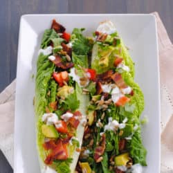 Southwestern Wedge Salad with Green Chile Yogurt Dressing - An updated take on an old classic! | foxeslovelemons.com