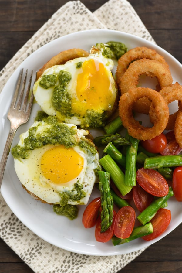 Onion Ring, Sausage & Egg Stacks