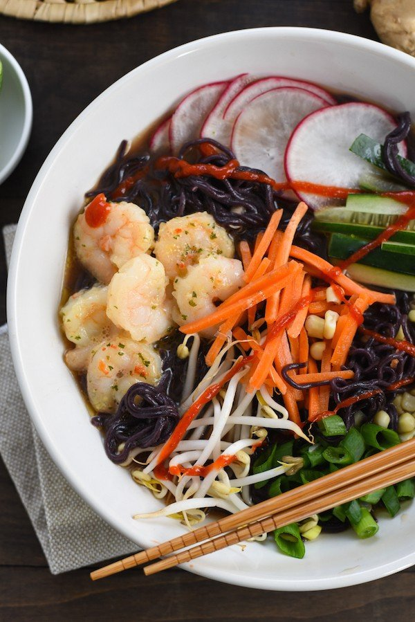 Quick-Fix Fancy Shrimp Ramen - A fun meal that can be prepped in advance, and uses a little help from the store. | foxeslovelemons.com