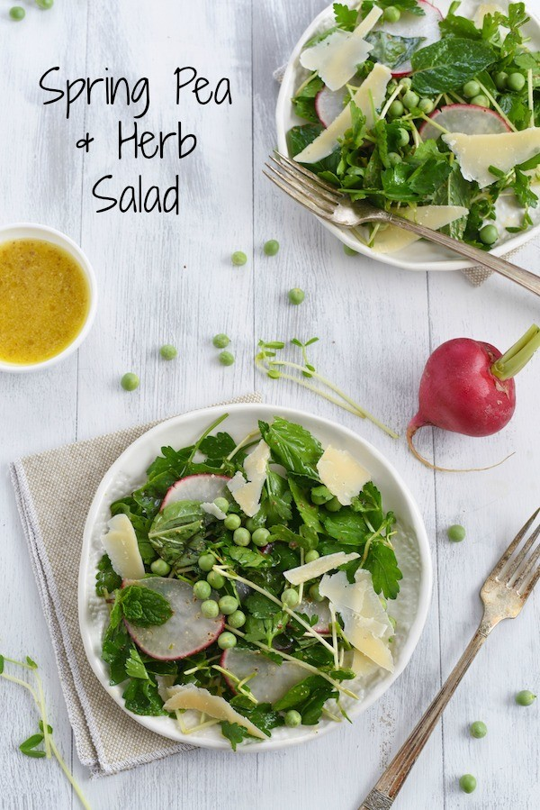 Spring Pea & Herb Salad with Asiago & Parmesan - A fresh and bright salad to welcome Spring! | foxeslovelemons.com
