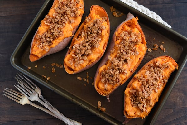 Twice-Baked Sweet Potatoes with Chili Oat Topping