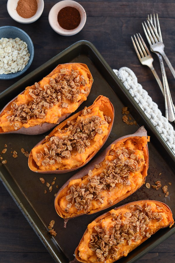 Twice-Baked Sweet Potatoes with Chili Oat Topping - A savory-sweet side dish. A perfect accompaniment to chicken, pork or steak! | foxeslovelemons.com