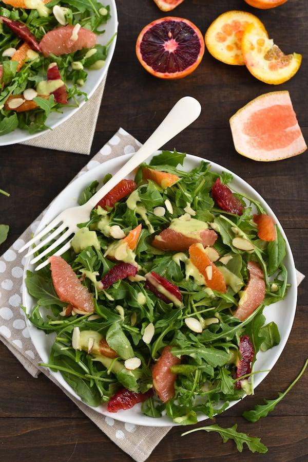 Winter Citrus Salad with Avocado-Basil Dressing