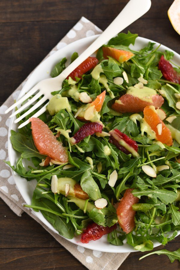 Winter Citrus Salad with Avocado-Basil Dressing - A healthful and flavor-packed salad. Serve as a light lunch, or add shrimp, chicken or chickpeas to turn it into a more substantial meal. | foxeslovelemons.com
