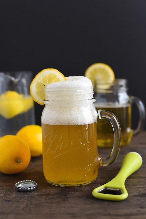 Meyer Lemon Shandy - Homemade Meyer lemonade + wheat beer = the perfect drink to go with a salty snack! | foxeslovelemons.com