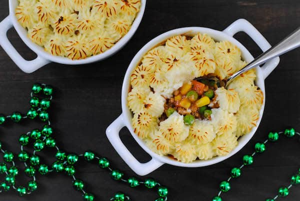 These Mini Shepherd's Pies are make-ahead individual casseroles, perfect for St. Patrick's Day, or any time you're in the mood for comfort food! | foxeslovelemons.com