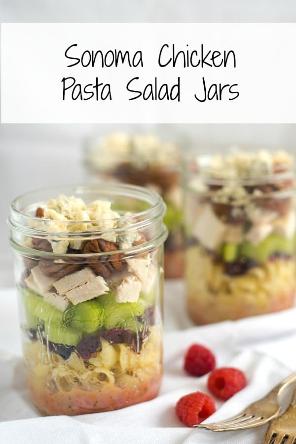 Sonoma Chicken Pasta Salad Jars , Portable and delicious lunches packed  with pasta, dried cranberries