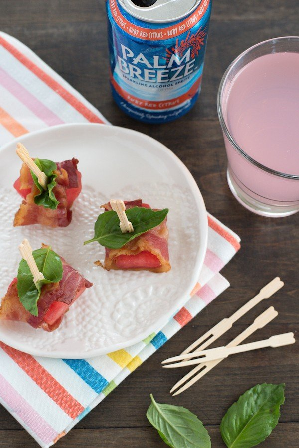 Bacon-Wrapped Watermelon Bites - A simple three-ingredient summer party bite that pairs perfectly with cocktails! | foxeslovelemons.com