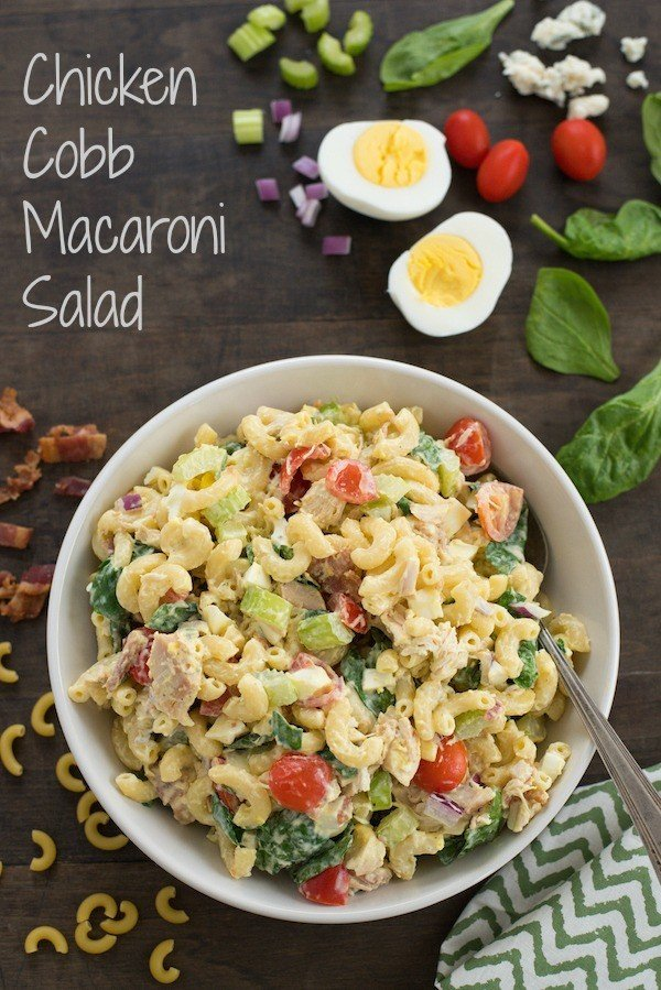 Chicken Cobb Macaroni Salad - Perfect for summer barbecues or graduation parties!  Macaroni salad loaded with chicken, bacon, hard-boiled eggs, blue cheese, spinach, tomatoes & celery! | foxeslovelemons.com