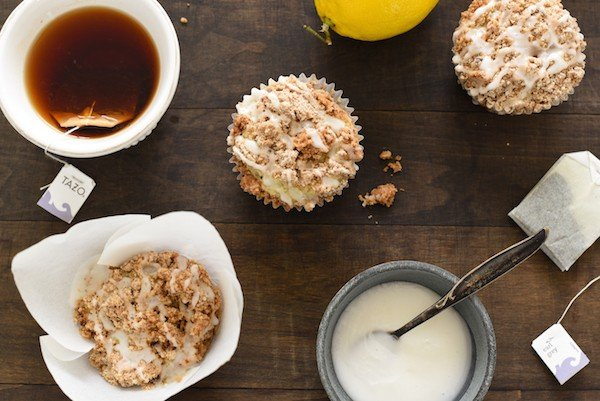 Lemon Earl Gray Streusel Muffins - Coffee cake-inspired muffins, infused with the flavors of tea and lemon zest. Topped with a simple brown sugar streusel and lemony glaze, they are perfect for breakfast or dessert! | foxeslovelemons.com