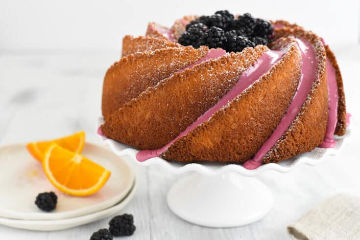 Orange Bundt Cake with Blackberry Icing