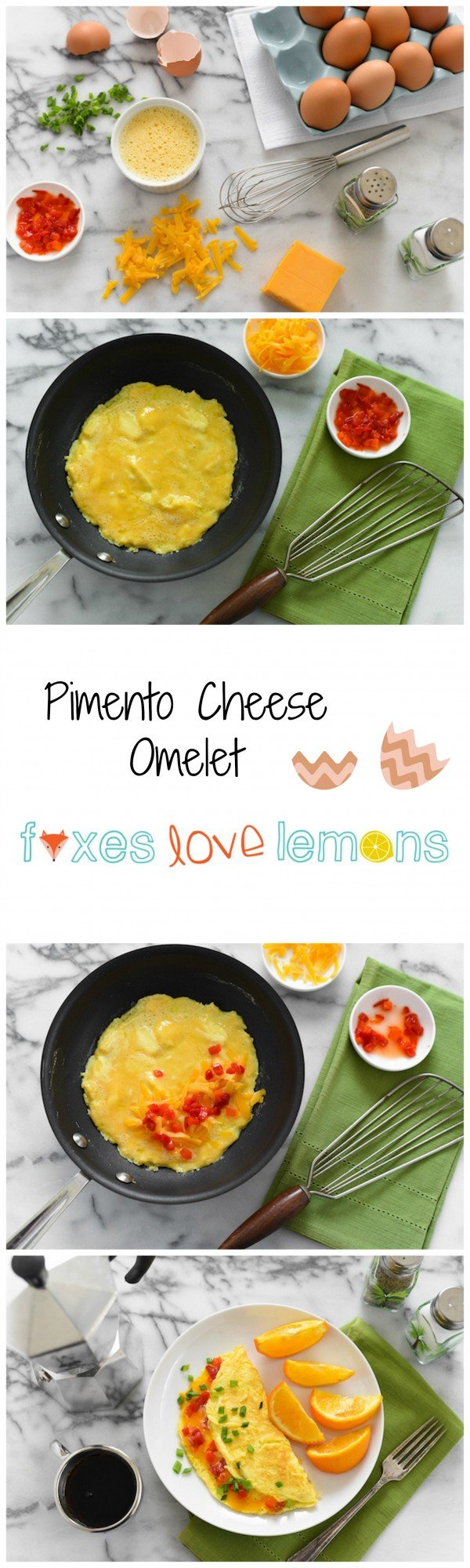 Pimento Cheese Omelet - A simple and flavorful omelet inspired by pimento cheese sandwiches! | foxeslovelemons.com