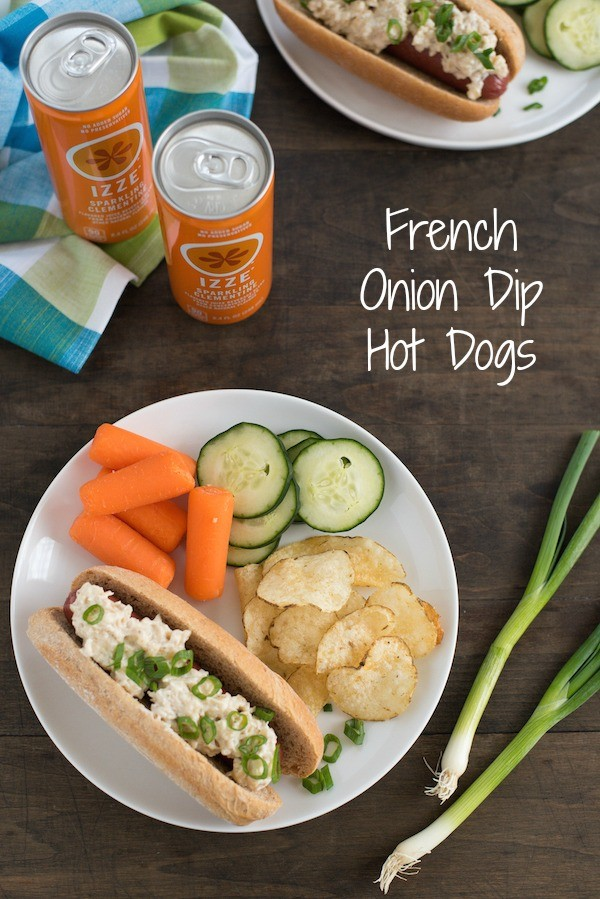 French Onion Dip Hot Dogs  - Grilled hot dogs topped with homemade creamy French onion dip. | foxeslovelemons.com
