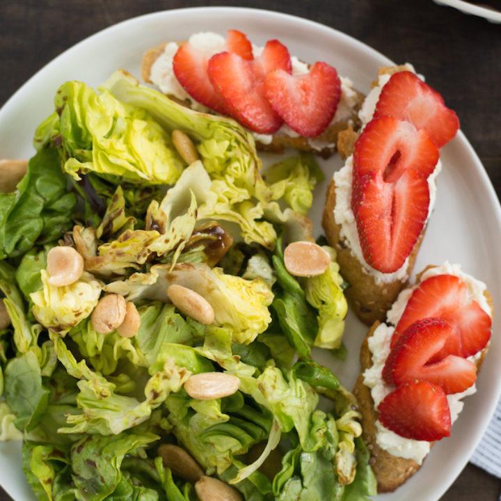 Summer Salad with Strawberry-Ricotta Toast