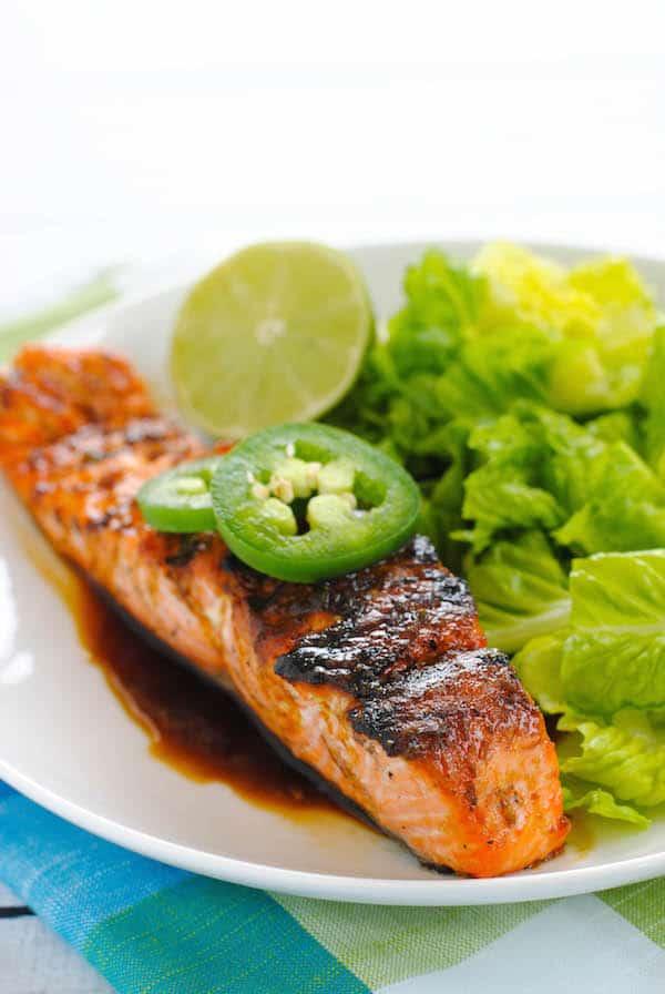 Grilled Salmon with Sweet Jalapeño Glaze
