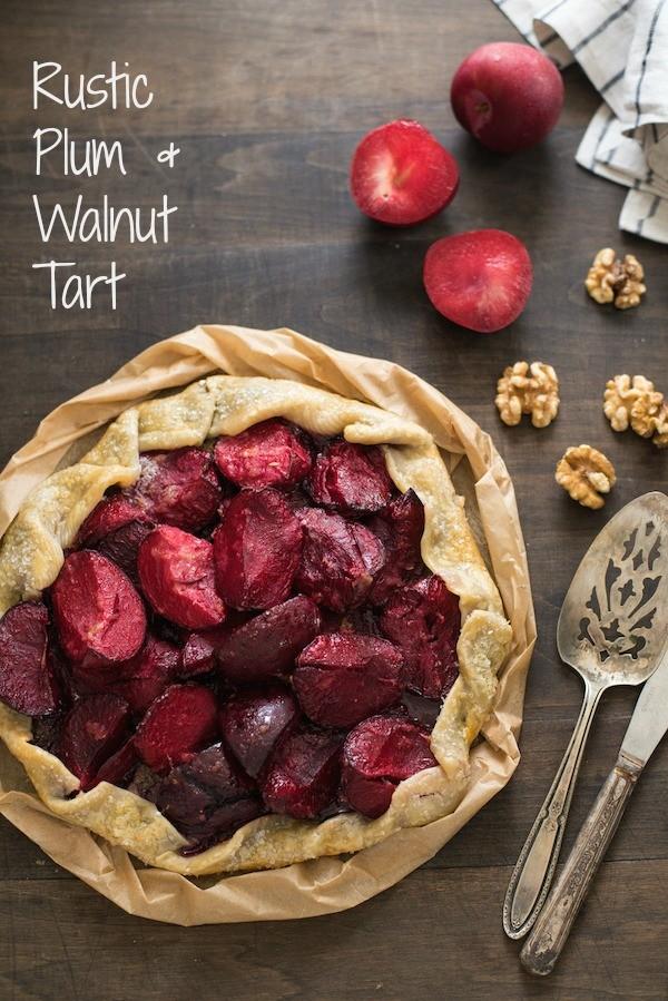 Rustic Plum & Walnut Tart - A beautiful dessert that combines a simple homemade walnut butter with fresh, juicy plums! | foxeslovelemons.com