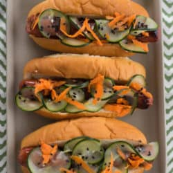 Teriyaki Hot Dogs with Pickled Vegetables - Shake up your boring hot dog routine with these Asian-inspired dogs! | foxeslovelemons.com